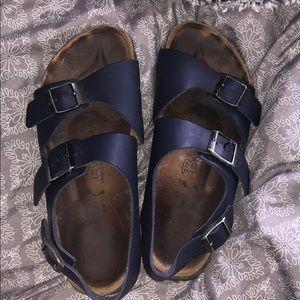 Navy Leather Birkenstock Sandals